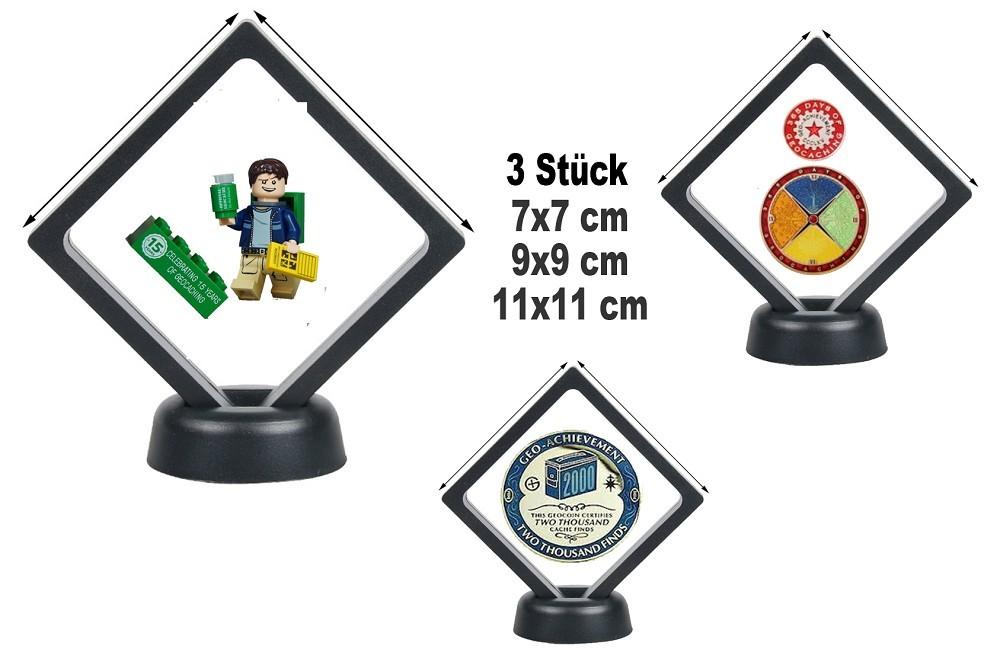 3D Coin Display 3er Set - 7x7 cm + 9x9 cm + 11x11 cm für Geocoins ...