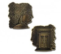 Temple Romulus Coin - Antique Bronze (ohne Pin) Geocaching