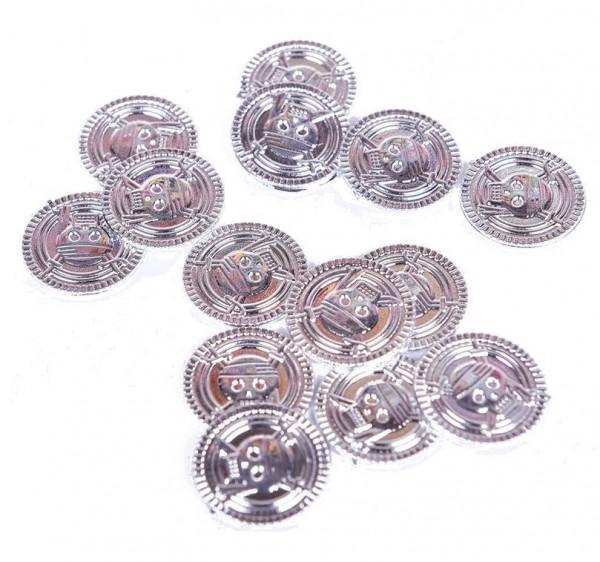 20 x FTF Trade silberne Kunststoff Piraten Münzen