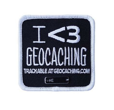 I <3 Geocaching Patch Aufnäher - Black I Love - Ich liebe