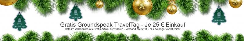 geocaching gratis traveltag groundspeak aktion tree christmas free